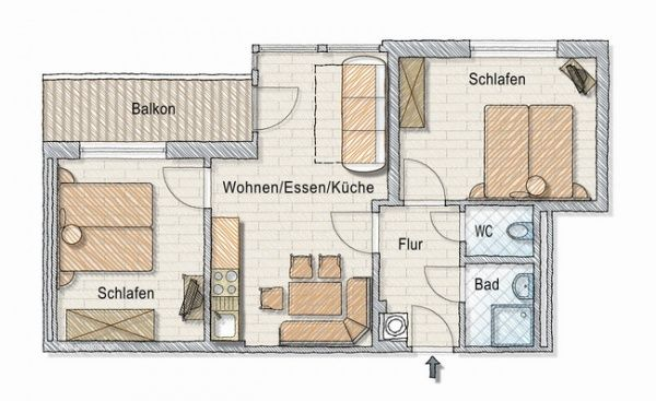 Grundriss Appartement Wintergartl (4-6 Personen)